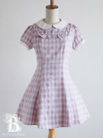 🌹Ank Rouge🌹Peter Pan Collar Plaid Dress One Piece LARME Hime Lolita Japan F424