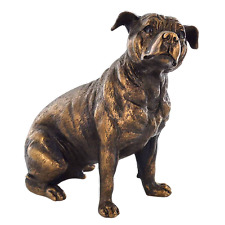 More details for staffordshire bull terrier bronze effect statue dog sculpture figure ornament