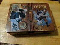 "The Adventures of TinTin Movie Tin Storage Box with Lid Book Design 9.5 x 7.25"""