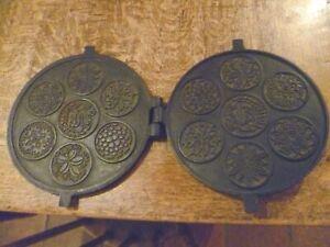 Vintage Swiss Norwegian  Cast Iron Krumkake Gorojern Traditional Waffle Biscuit