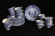 Staffordshire LOT of 15 Liberty Blue Dinner Plates; Independence Hall + Tea Cups