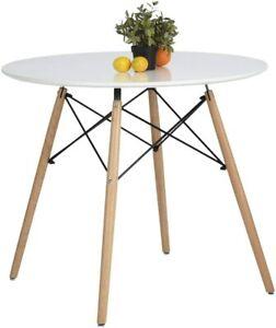 Coavas Kitchen Dining Table White Round Coffee Table Modern Leisure Wooden Tea