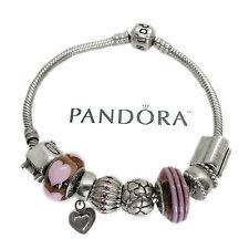 Pandora Sterling Silver Charm Bracelet w/Eight Assorted Pandora Charms