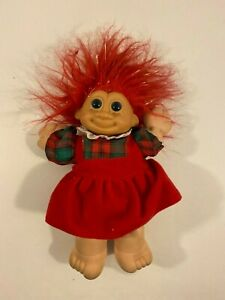 """Vintage Russ Berrie Plush Troll Doll Red Christmas Dress Red Hair Soft Body 9"""""""
