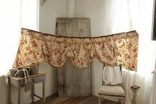Antique Curtain French Valance ciel de lit bed hanging drape yellow floral c1880
