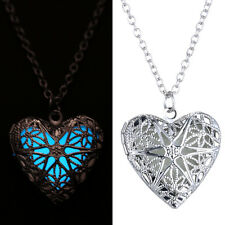 NEW Hollow Heart Pendant Luminous Glow In The Dark Locket Necklace Jewelry Gift