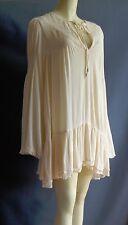 Free People M NEW Ecru Ivory Rayon Gauze Boho Lace Gathered Tunic Dress