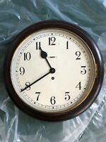 VINTAGE WOODEN CASED WALL CLOCK  WITH KEY