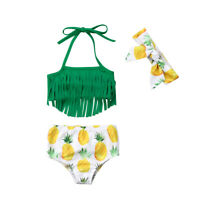 Newborn Kids Baby Girl Pineapple Tassel Swimwear Swimsuit Bikini Bathing Suit