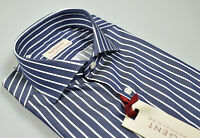 Camicia Regent by Pancaldi Slim Fit in Cotone Collo Francese Blu a Righe Bianche