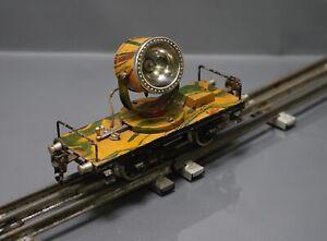 Pre War WWII Marklin Tin Toy Train O Gauge 0 Searchlight Car Anti Aircraft Camo