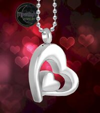 New Two Hearts Cremation Heart Urn Keepsake Ash Silver Memorial Necklace