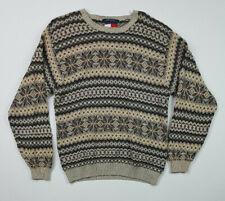 Vintage Tommy Hilfiger Men's Nordic Geometric 100% Cotton Sweater Size S