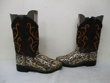 Old West Glitter Brown Cheetah Cowboy Western Boots Youth Size 2 Style VB9127