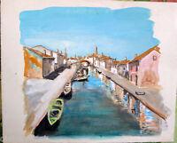✅Acquerello '900 su carta Watercolor   Case con canale a Burano (151)
