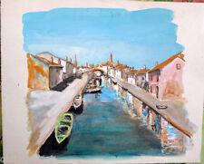 Acquerello '900 su carta Watercolor - Case con canale a Burano- (151)