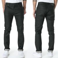 new Nudie Mens Slim Fit Raw Denim Jeans | Thin Finn Organic Dry Black Coated
