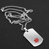 Stainless Steel  Symbol Alert ID Dog-Tag Pendant Necklace for Unisex