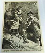 1883 magazine engraving ~ PEARL MARGARET ~ girl shows gun to hiker