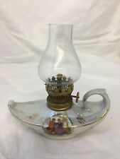 Vintage oil lamp Pearlescent Porcelain Base & clear glass globe shade