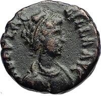 AELIA FLACILLA Theodosius I Wife 383AD Ancient Roman Coin VICTORY CHI-RHO i69657