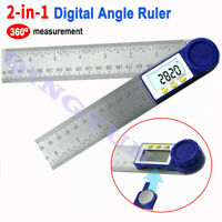 2in1 LCD Digital Angle Finder Meter Folding Ruler Measurer 200MM 360° Protractor