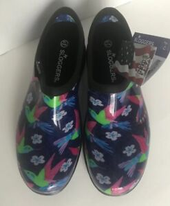 Sloggers Waterproof Shoes Women's Size 10 Humming Bird Print Black