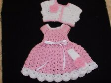 HANDMADE CROCHET BABY DRESS. SWEATER ,HEADBAND- PINK   by ROCKY MOUNTAIN MARTY