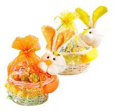 2x Weide Osterkorb mit Häschen Osternest Korb Ostern Deko Geschenk Körbe Hase
