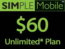 PRELOAD SIMPLE MOBILE UNLIMITED CALL TEXT WEB INTERNATIONAL PLAN $60 $50 '30 $25