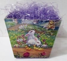 """Easter Cardboard Gift Container Box Basket Decoration Bunny Litho 4"""" Sq 1996"""