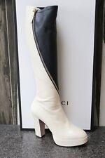 NIB GUCCI VINTAGE WHITE/BLUE CHARLOTTE BIAS ZIPPER PLATFORM KNEE BOOT Shoes 39.5