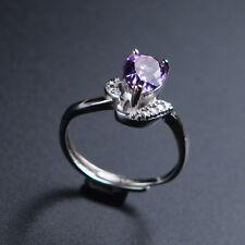 Natural Purple Amethyst Quartz Crystal Adjustable Lady Ring AAAA 9x6mm