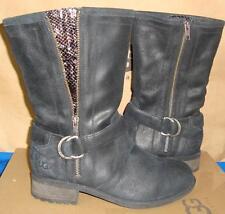 UGG Australia SILVA Black  Moto Buckle Boots Size US 7.5, EU 38.5 NEW #1005435