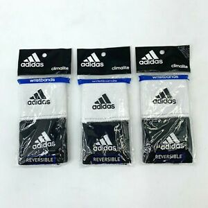 Lot 3- Adidas Climalite Reversible Wrist Band Soft Light Wicking Terry Cloth New