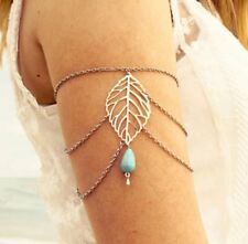 Boho Armlet Silver Leaf Slave Harness Chain Upper Cuff Armband Bracelet Bangle 9