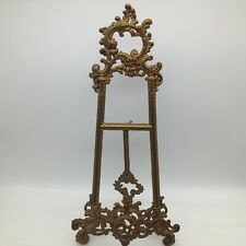 """Vintage Victorian Brass Easel Book Holder Bible Recipe Photo Plate Display 15.5"""""""