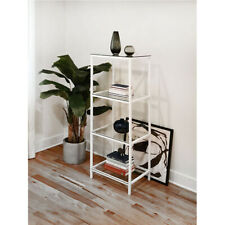 "KennynElvis 20"" 4-Tier Metal Multipurpose Display Shelf Rack (White)"