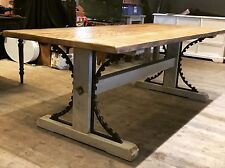 Rustic Industrial Reclaimed Lock Gate 7ft Frame Dining Table Steampunk