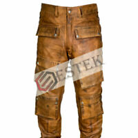 Men's Brown Vex Real Cowhide Leather Stylish Side Laced Biker Leder Pant Trouser