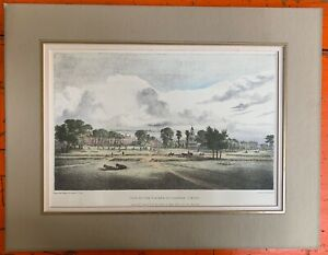 RARE antique litho print View of the NE end of Clampham Common John Powell 1825