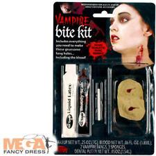 Vampire Fang Bites Make Up Kit Halloween Fancy Dress Adults Costume Accessory