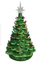 "New Christmas is Forever Lighted Tabletop Ceramic Tree 14.5"" Green"