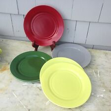7 Moderntone Platonite Dinner Plates Burgundy Yellow Green Grey 9""