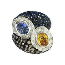 Multi-Color Sapphire and Diamond Toi et Moi Style 18K White Gold Ring