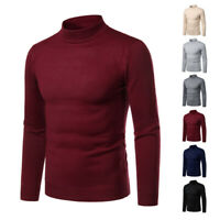 New Men Winter Pullover Sweater Turtleneck Shirt Tops Slim Solid Casual Warm