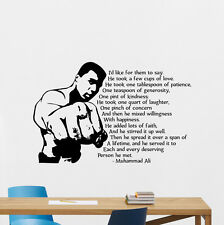 Muhammad Ali Quote Wall Decal Boxing Sports Vinyl Sticker Gym Decor Mural 228hor