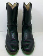 JUSTIN Black Kipskin Leather Roper Cowgirl Cowboy Boots L3703 woman size  8 B