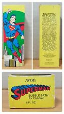 "Unused 1978 SUPERMAN Avon Soap 9 1/2"" Bubble Bath Bottle with Cape in Box RARE!"