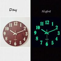 Luminous Wall Clock 12 Inch Wooden Silent Non-Ticking With Night Lights Home